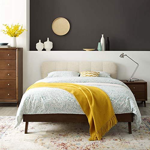Modway MOD-6004-BEI Gianna Queen Upholstered Polyester Fabric Platform Bed, Beige