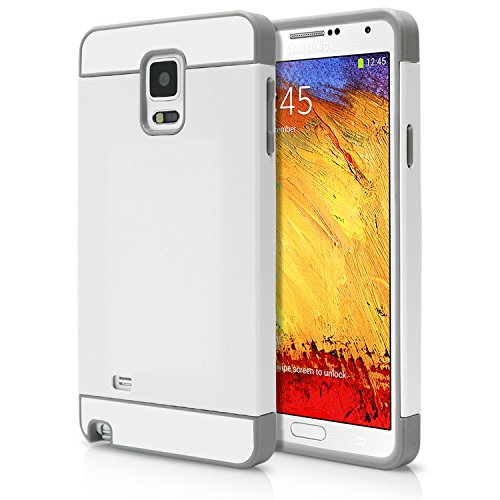 Galaxy Note 4 Case, MagicMobile® Cute Ultra Slim Protective Case for Note 4 [Heavy Duty] Hard Thin Shockproof Resistant Flexible TPU for Samsung Galaxy Note 4 Cute Armor Cover, White - Gray