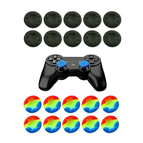 WELLSKEY Thumb Grip Stick Cover For PS4 PS3 PS2 XBOX 360 ONE WII - Case Skin Joystick Controller - Pack of 20 pcs (10 Black + 10 Multicolor) Set # 13