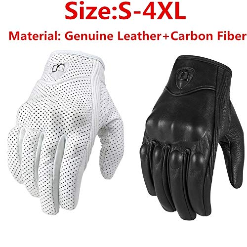 Digital baby Motorcycle Gloves Touch Screen Windproof Anti-Static Genuine Leather+Carbon Fiber(Black,Perforated 4XL)