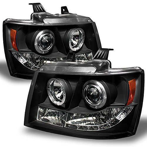 Chevy Suburban Avalanche Tahoe Black Dual Halo Ring LED DRL Projector Replacement Headlights Lamp