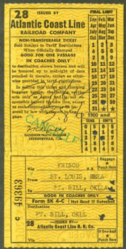 Atlantic Coast Line RR ticket Ft Sill via Frisco 1962