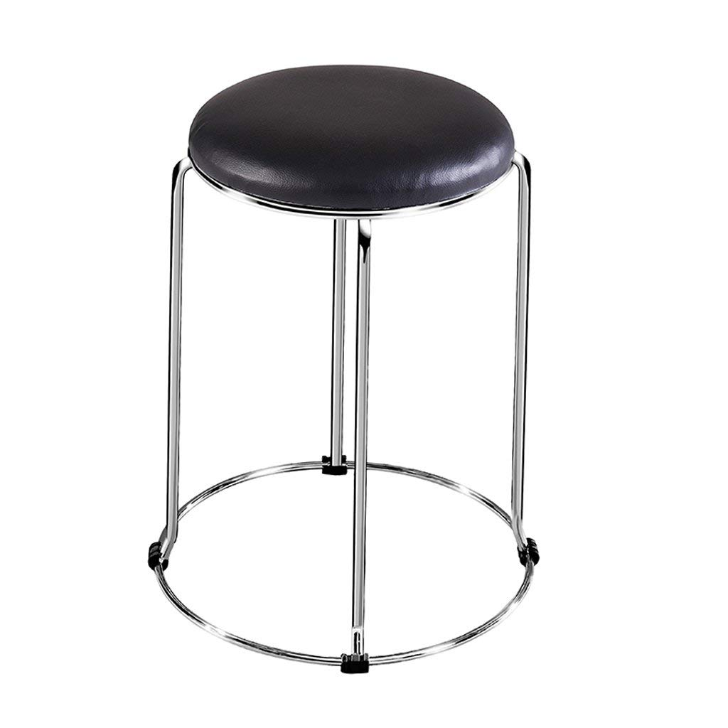 TangMengYun Household Metal Stools Leather Chairs Dining Chairs Office Stools Stackable Adult Stools Save Space (Color : A, Size : 2947CM)