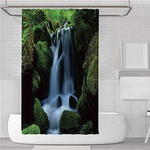 (C COABALLA Natural Waterfall Decor Stylish Shower Curtain,Flowing Water from Mountain Stream Moss Covered Stones Picture for Dormitory Home,70.8''W x 82.6''H )