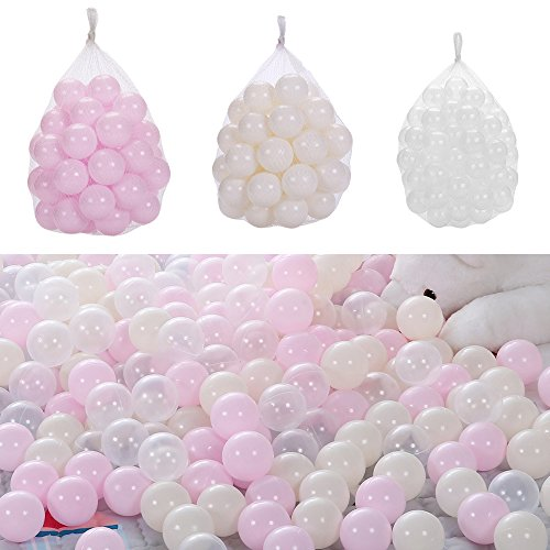 MMBB Ocean Balls Baby Kid Swim Pit Toy Light Pink Beige Transparent Soft Plastic Bulk Pack (Diameter 2.16'' 150pcs) by MMBB