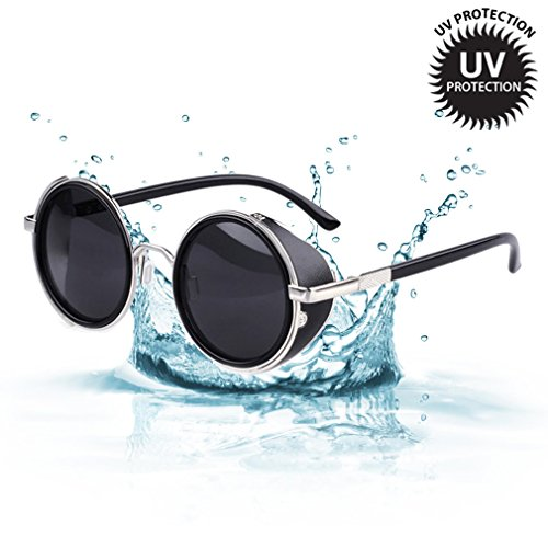 LOMOL Retro Steampunk Rock Metal Frame UV Protection Round Sunglasses For - Sunglasses Okey Website