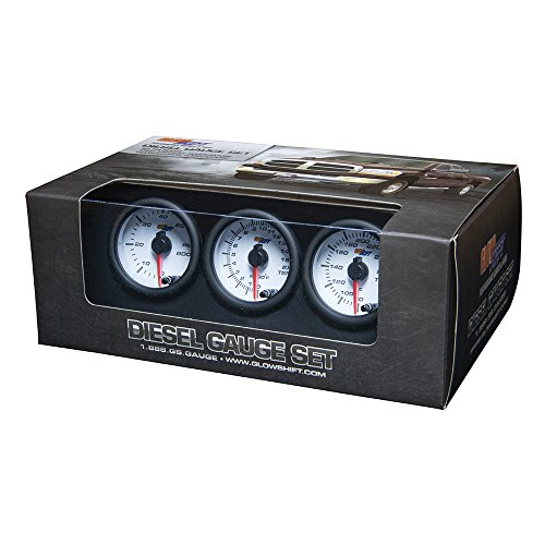 GlowShift White 7 Color Series Diesel Gauge Set 60 PSI Boost, 1500 F Pyrometer EGT & Transmission Temperature (Series Pyrometer Kit)