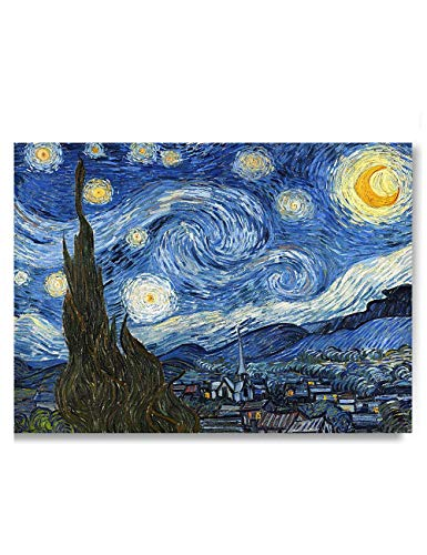 Heronear Starry Night by Van Gogh - Canvas Art Wall Decor Famous Painting Reproduction Print- Framed Ready to Hang - 24