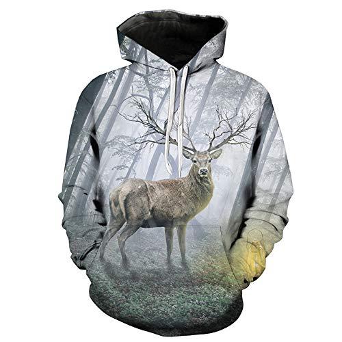 (Christmas Elk Print Hoodie,NRUTUP Men's Active SweatShirts Overalls & Coveralls Suits & Sport Coats Clothing Deals(Gray,XL))