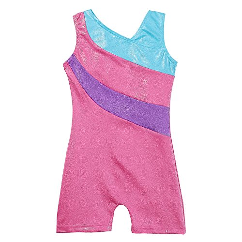 Girls' Gymnastics Biketard One-piece Sleeveless Dancing Athletic Camisole Leotard Shiny and Pretty (120 for 5-6Y, Hot-Pink) for $<!--$12.15-->