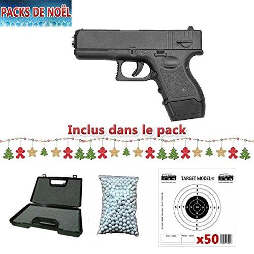 balines recambio manual con muelle 50 blancos de regalo Galaxy G16 Paquete de Navidad con pistola tipo Glock 26 para airsoft 0,4 J malet/ín
