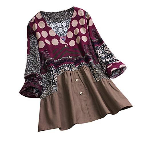 TOTOD Women Tops Deals,Plus Size Vintage Floral Print Blouses Casual 3/4 Sleeve Boho Patchwork Shirt