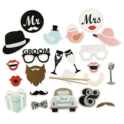 Ling S Moment Wedding Photo Booth Props Diy Kit Funny 22pcs