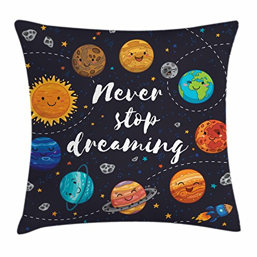 Quotes Decor Throw Pillow Cushion Cover by Ambesonne, Cute Outer Space Planets and Star Cluster Solar Moon and Comets Sun Cosmos Image, Decorative Square Accent Pillow Case, 16 X 16 Inches, Multi (Pillow Sun)