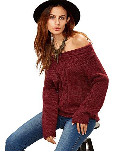 ROMWE Womens Shoulder Sleeve Sweater
