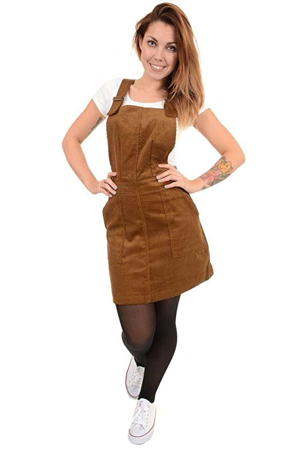 1960s Style Dresses- Retro Inspired Fashion Tan Tobacco Corduroy Run & Fly Pinafore Dress $39.95 AT vintagedancer.com