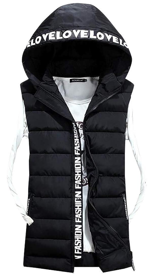 WSPLYSPJY Mens Winter Solid Color Sleeveless Padded Jacket Puffer Hood Down Vest