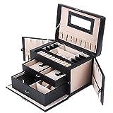 Songmics Leather Jewelry Box w/ Travel Case and Lock Storage Case Organizer