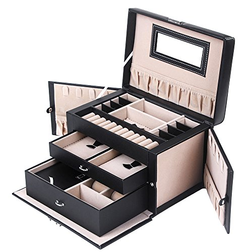 SONGMICS Jewelry Box, Girls Jewelry Organizer, Mini Travel Case, Mirror, Watch Organizer, Lockable, Black, UJBC121B