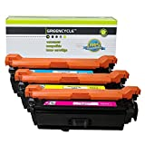 GREENCYCLE Compatible with HP 504A CE251A CE252A CE253A Cyan Magenta Yellow Toner Cartridge Set for HP Color Laserjet CP3520 CM3530 CM3530fs CP3525 CP3525dn CP3525n CP3525x CP3530 Printer (3 Pack)