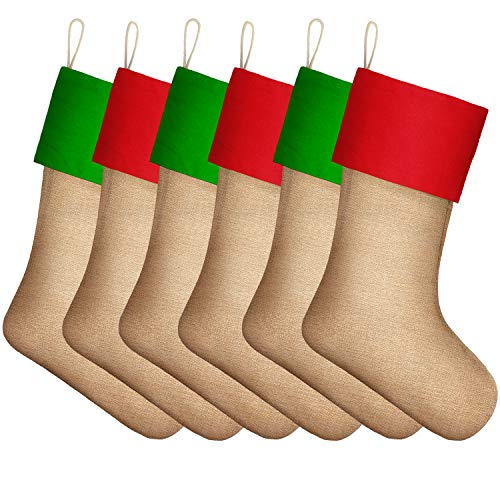 Sumind 6 Packs Burlap Christmas Stockings for Christmas Decorations or DIY (Multiple Colors 4)