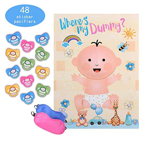 Reusable Baby Shower games - Pin the Dummy on the Baby Game | Large Size Poster | for Baby Shower Favors, Gender Reveal Party -