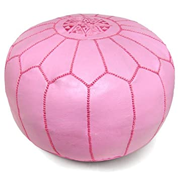 Ikram Design Moroccan Pouf Pink 20 Inch By 13