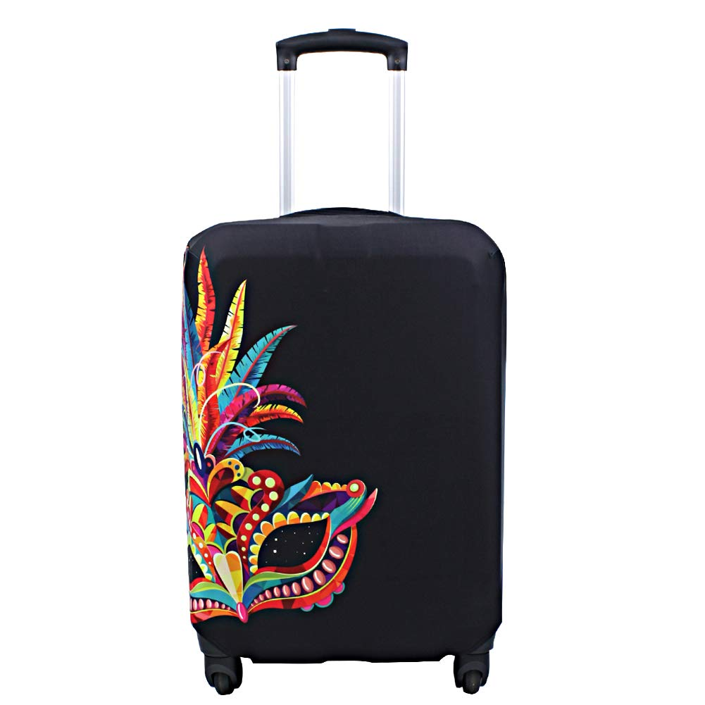 Geometric Triangle Pattern African American Woman Luggage Cover Elastic Suitcase Protector Fits 18-32 Inch