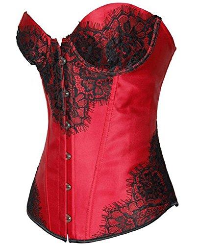 ZAMME mujers Belleza Steampunk Burlesque Overbust Corsé Body Shaper Rojo