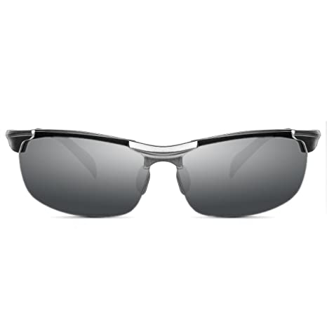Polarisierte Sonnenbrille Herren Aluminium-Magnesium-Legierung inkl. Brillenetui Sportbrille Fahrerbrille im Racing Style, verspiegelt, in 6 Ausführungen (Silber Silber)