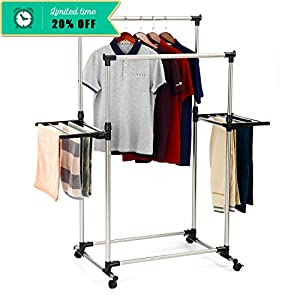 SUNPACE Double Rods Garment Rack Adjustable Wings Shape Clothes Drying Rack with Foldable Airfoil-style Laundry Rack