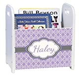 Personalized Lavender Quatrefoil w Grey White Book Caddy and Rack
