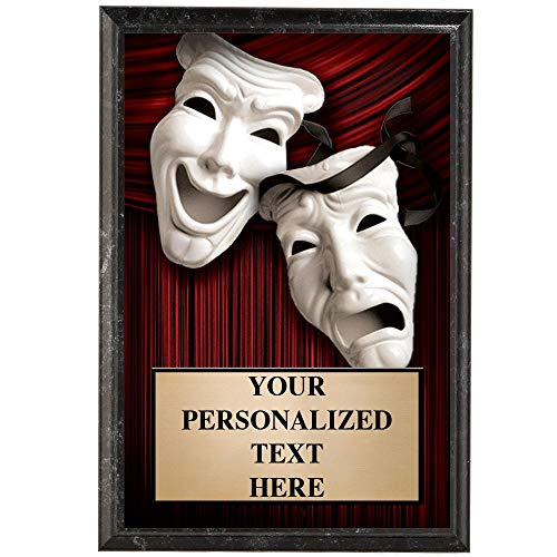 Crown Awards Drama Plaques, 5 x 7 Show Stopper Drama Masks Trophy Plaque with Custom Engraving Prime