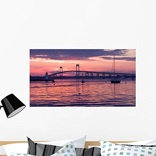 Light House and Bridge Wall Mural by Wallmonkeys Peel and Stick Graphic (36 in W x 20 in H) - Kids Newport Ri