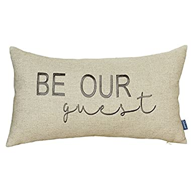 DecorHouzz Be Our Guest Embroidered Pillow Cover Pillow Cases Throw Pillow Decorative Pillow Wedding Birthday Anniversary Gift 12 x20  (Linen)