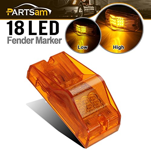 Partsam 18 LED Trailer Bus Mid Turn Signal Marker Light (Amber) Side Mount P/T/C Light with Reflector Replacement for Freightliner Sleepers Side Marker/Turn Signals, 3 Wires