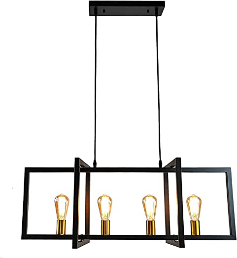 Longwind Modern Kitchen Island Light,4 Lights Industrial Pendant Light Matte Black Hanging Lamp with Antique Brass Sockets