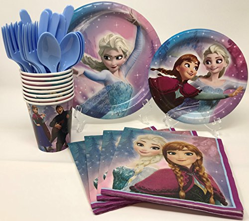 Designware Disney Frozen Party Supplies Pack Including Plates Cutlery Cups Napkins For 8 Guests
