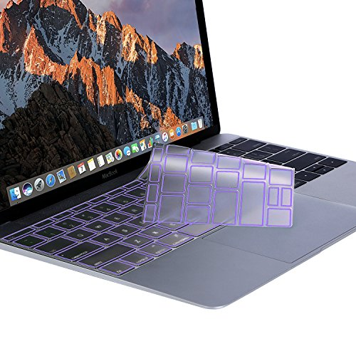 MOSISO Premium Soft TPU Ultra Thin Transparent Keyboard Cover Protector Compatible MacBook Pro 13 Inch 2017 & 2016 Release A1708 No Touch Bar MacBook 12 Inch A1534 Protective Skin, Ultra Violet