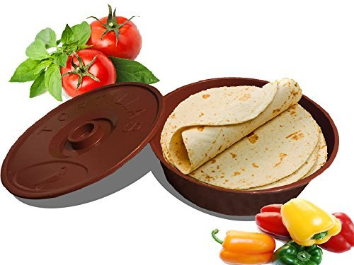 "2 Set of 8.5"" Tortilla Warmer Keeper Plastic with lid, Mexican Food Server Dish Container Storage, Microwave Dishwasher Safe, Serving Warm Pita Bread, Naan, Pancakes, Waffles, Tortillas, Tacos & More (Server Plastic Tortilla)"