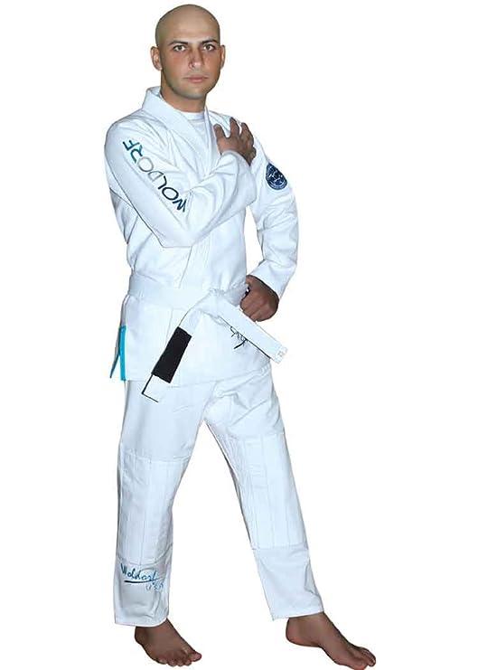 Woldorf USA Brazilian Jiu Jitsu Kimono Pearl Weave Gi Competition Uniform White with Ripstop Pants Size 4 A2