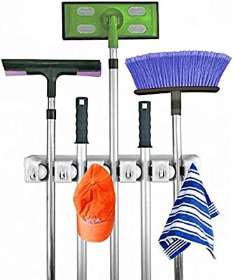 white 3-H Broom Mop Holder Garage Storage Hooks Wall Mounted Organizer for Shelving Brush Tool Storage with 5 Position 6 Hooks