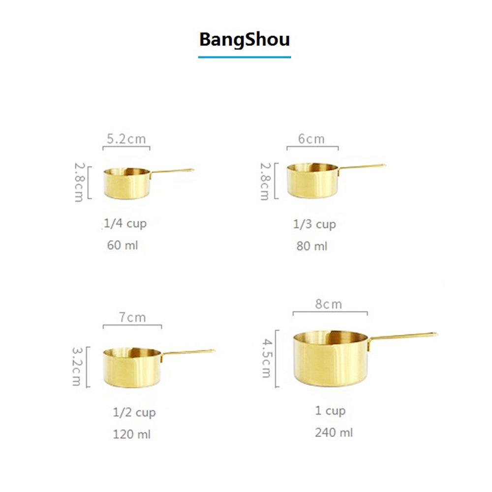 Poli miroir amovible Bague support Cup Set of 4 dor/é BangShou de qualit/é sup/érieure Dor/é Ensemble de cuill/ères /à mesurer et ensemble de tasses /à mesurer en acier inoxydable avec gravure Dimensions