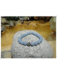 Angelite Stretch Bracelet with a Silver Accent Bead