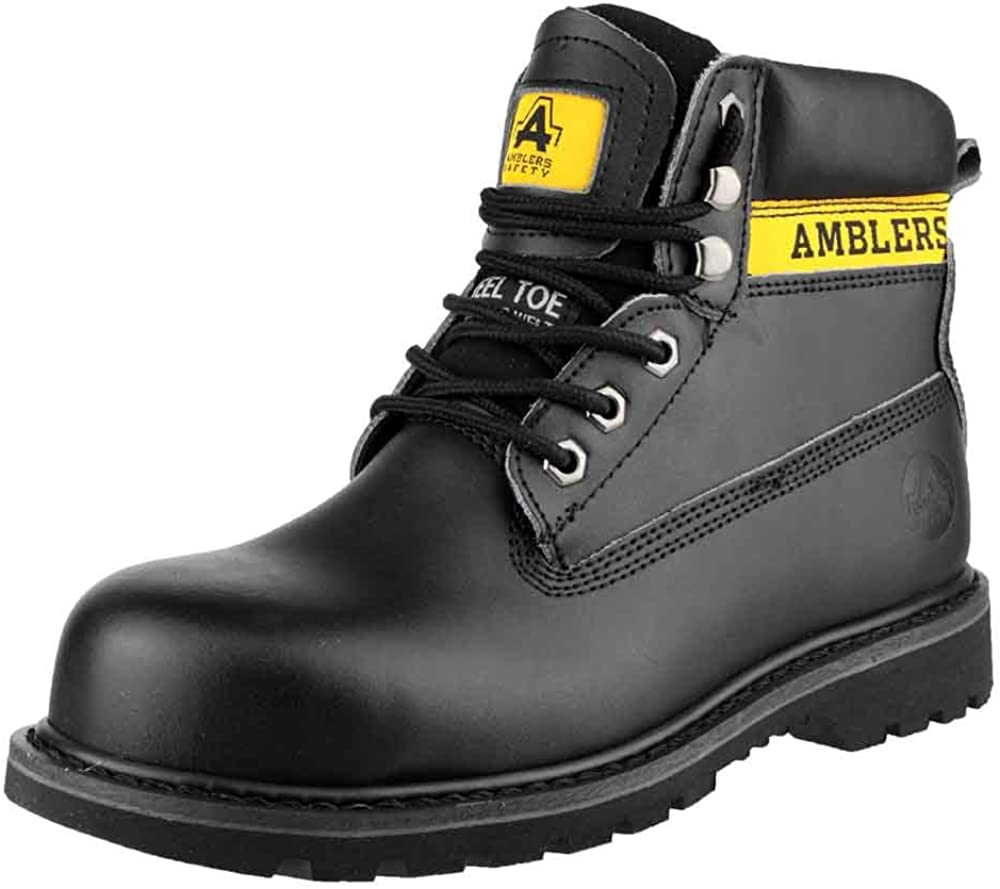 Amblers Safety Mens FS9 Steel Toe Cap Leather Safety Boots Black