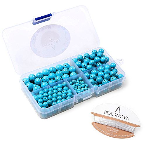 BEADNOVA Synthetic Blue Turquoise Round Beads Healing Power Energy Stone Gemstone Beads for Jewelry Making (340pcs/box, (Turquoise Round Beads)