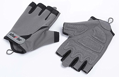 - Shayier Half-Finger Protecting Gloves for Gym Workout Fitness Cross Training Weight Lifting & Outdoor Sports (Gray, Large)