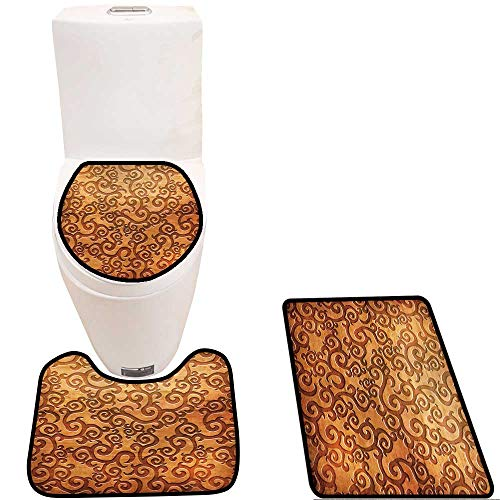 Soft Toilet Rug 3 Pieces Set Carved Wooden Ornament(You can find More templates and Textures in My Portfolio) Customized Super Soft Plush
