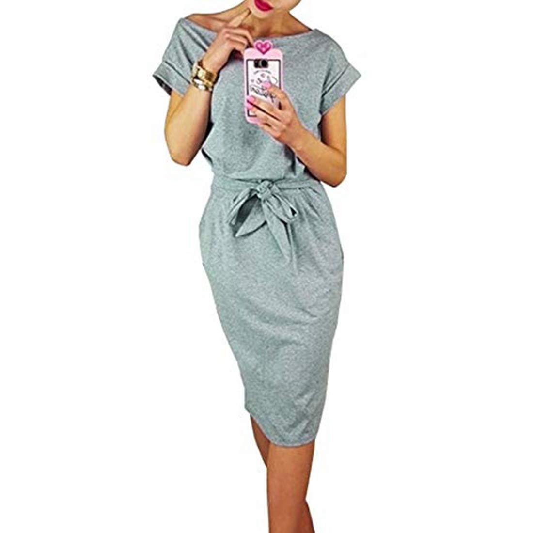 Shinekoo Autumn Women Elegant Long Sleeve Office Casual Pencil Dress with Pockets