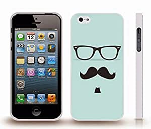 iStar Cases? iPhone 4 Case with Mustache, Soulpatch and Glasses on Pale Blue Background , Snap-on Cover, Hard Carrying Case (White) by ruishername